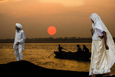 Sunset On Ganges Poster by Angelika Drake