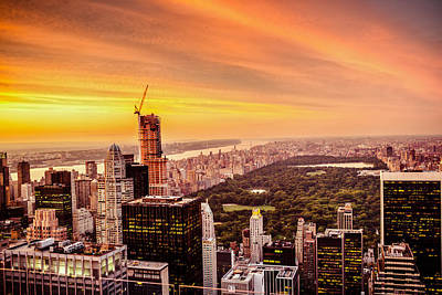 Sunset Over Central Park And The New York City Skyline Poster by Vivienne Gucwa