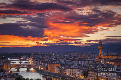 Sunset Over Florence Poster by Brian Jannsen