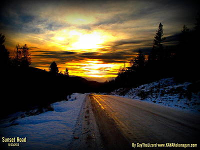 Poster featuring the photograph Sunset Road by Guy Hoffman