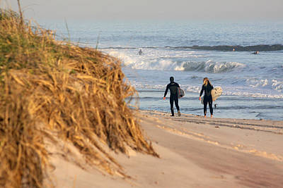 Surfers At Beach Westhampton New York Poster