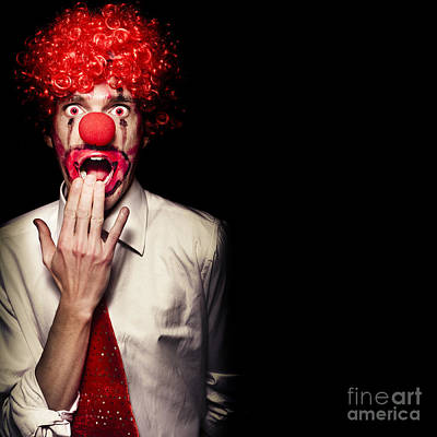 Surprised Clown Isolated Over A Black Background Poster by Jorgo Photography - Wall Art Gallery