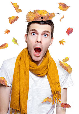 Surprised Person Having Fun With Tree Leaf On Head Poster