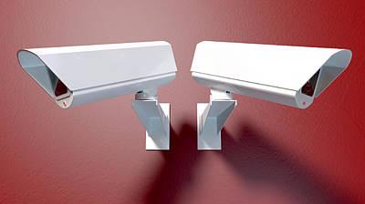 Surveillance Cameras On Red Poster by Allan Swart