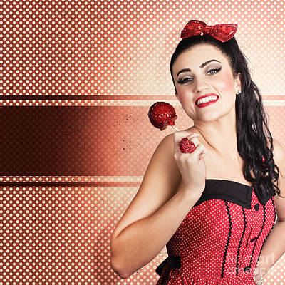 Sweet Candy Pinup Girl With Vintage Toffee Apple Poster