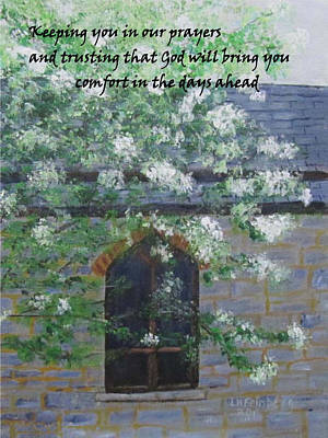 Poster featuring the painting Sympathy Card With Church by Linda Feinberg