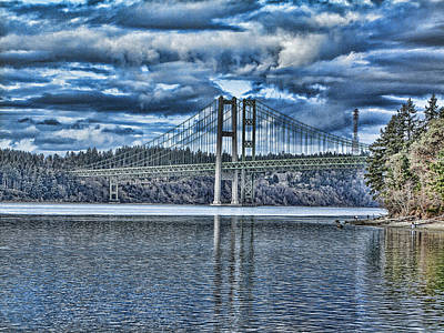 Tacoma Narrows Bridge Poster by Ron Roberts