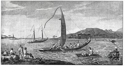 Tahitian Sailing Vessels, 18th Century Poster