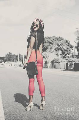 Tall Young Black Woman Modelling Handbag Accessory Poster