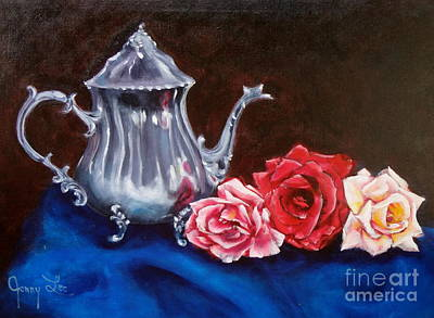 Teapot And Roses Poster