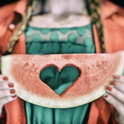 Teen With Watermelon Slice Poster by