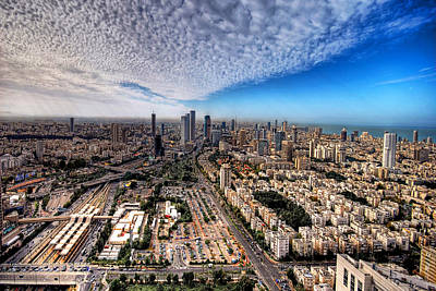 Poster featuring the photograph Tel Aviv Skyline by Ron Shoshani