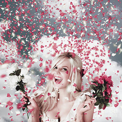 Tender Woman With Flowers. Romantic Celebration Poster