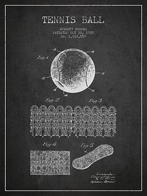 Tennnis Ball Patent Drawing From 1935 Poster