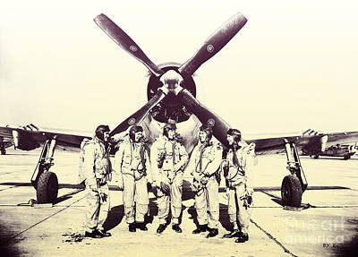 Test Pilots With P-47 Thunderbolt Fighter Poster by R Muirhead Art