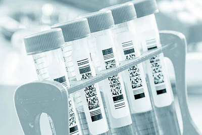 Test Tube With Qr Code Poster
