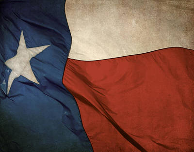 Rustic Texas Flag  Poster by David and Carol Kelly