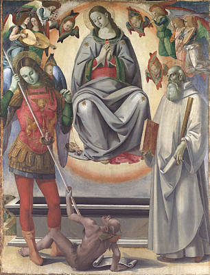 The Assumption Of The Virgin With Saints Michael And Benedict Poster by Luca Signorelli
