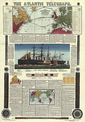 The Atlantic Telegraph Poster by Library Of Congress, Geography And Map Division