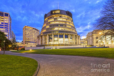 The Beehive Wellington New Zealand Poster by Colin and Linda McKie