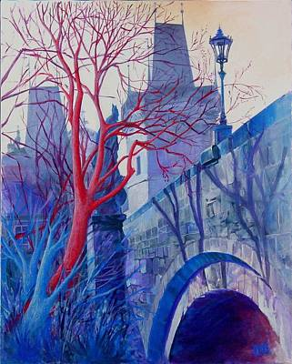 The Charles Bridge Blues Poster by Marina Gnetetsky