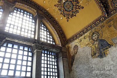 The Deisis Mosaic Showing Jesus Christ Hagia Sophia Poster