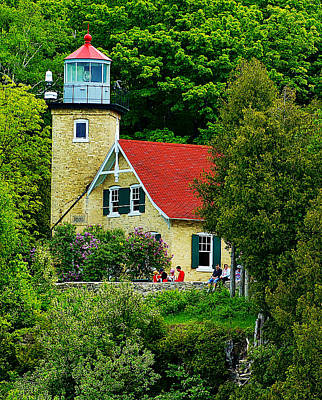 The Eagle Bluff Lighthouse Of Door County Poster by Carol Toepke