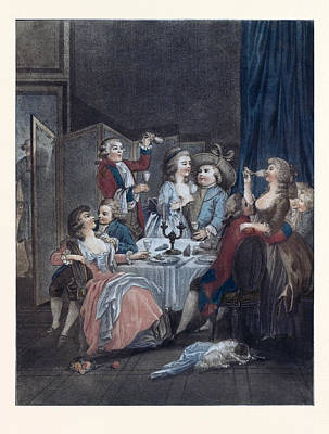 The Evening Meal, Men, Women, Food And Drink, Liszt Gourmet Poster by Huet, Jean-baptiste Marie (1745?1811), French