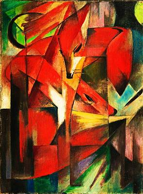 Poster featuring the painting The Foxes by Franz Marc
