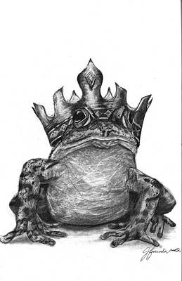 Poster featuring the drawing The Frog Prince by J Ferwerda