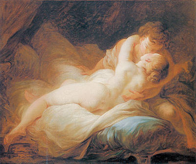 The Happy Lovers Poster by Jean-Honore Fragonard