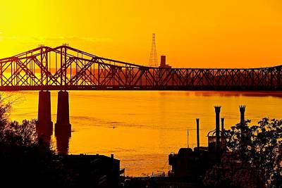 The Mississippi River Bridge At Natchez At Sunset.  Poster
