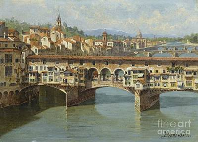 Poster featuring the painting The Ponte Vecchio Florence by Celestial Images