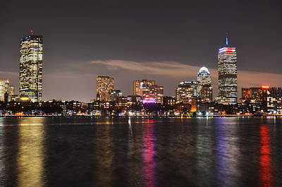 The Prudential Lit Up In Red White And Blue Poster