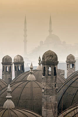 The Suleymaniye Mosque And New Mosque In The Backround Poster by Ayhan Altun
