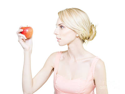 Thin Undernourished Woman Holding An Apple Poster