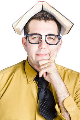 Thinking Businessman Wearing Information Book Poster