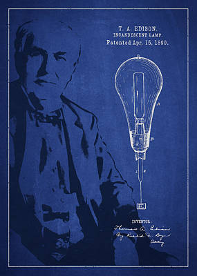 Thomas Edison Incandescent Lamp Patent Drawing From 1890 Poster