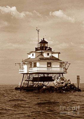 Thomas Point Shoal Lighthouse Sepia Poster by Skip Willits