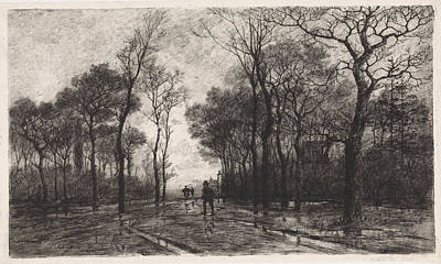 Three People On A Road Lined With Trees, Elias Stark Poster