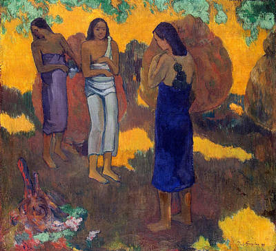 Three Tahitian Women Against A Yellow Background Poster
