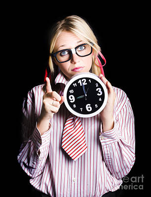 Time Management Business Person Signalling Time Up Poster by Jorgo Photography - Wall Art Gallery