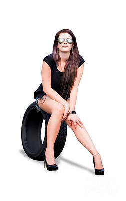 Tire Woman On Tyre Poster by Jorgo Photography - Wall Art Gallery