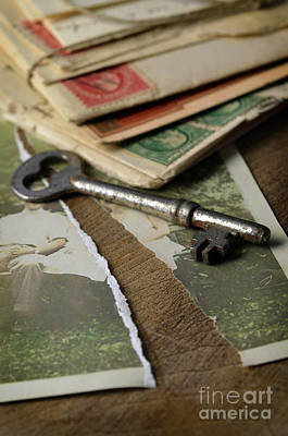 Torn Vintage Photograph With Key Poster by Jill Battaglia