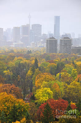 Toronto Autumn Fog Poster