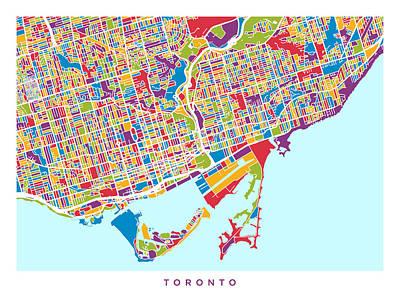 Toronto Street Map Poster by Michael Tompsett