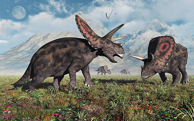 Torosaurus Dinosaurs During Earths Poster by Mark Stevenson