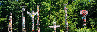 Totem Poles In A A Park, Stanley Park Poster by Panoramic Images