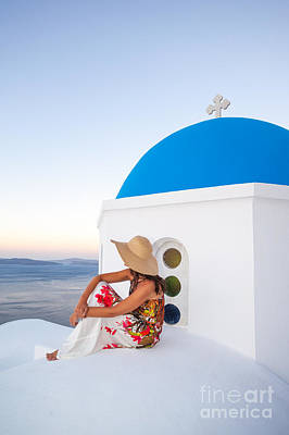 Tourist On Blue Domed Church In Santorini Greece Poster