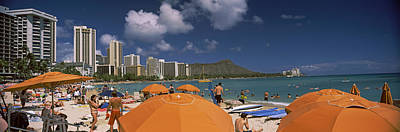 Tourists On The Beach, Waikiki Beach Poster by Panoramic Images